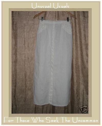 FLAX by Jeanne Engelhart White LINEN Skirt Small S