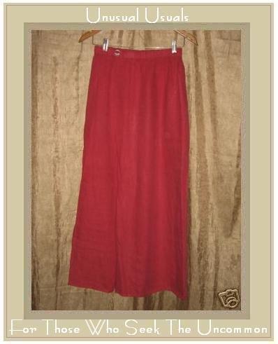 FLAX by Jeanne Engelhart Red LINEN Skirt Medium M