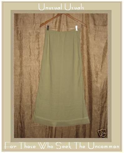 Real Comfort Long Leafy Green Tulle Trimmed Skirt Medium M