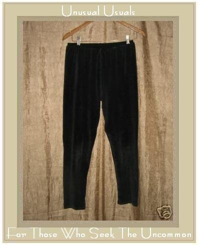 FLAX by Jeanne Engelhart BLACK VELOUR Leggings Pants Small S