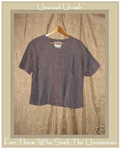 FLAX Purple Textured LINEN Button Shirt Top Jeanne Engelhart Small S