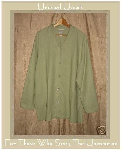 Coldwater Creek Green LINEN RAYON Button Shirt Tunic Top 2X