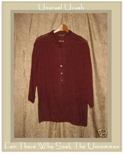 PEBBLE RAYON Long Russet Tunic Top Shirt Small S