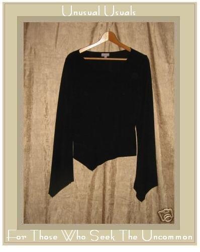 Charlotte Russe Black Assymetric Knit Pullover Shirt Top Large L
