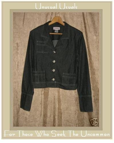 SOLITAIRE Shapely Black Denim Button Jacket Large L