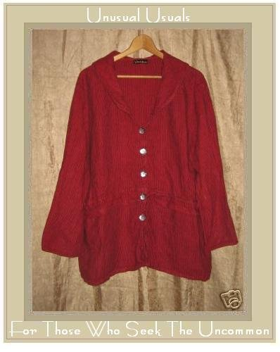 Somewhat Funky Liz & Jane Red Stripe Skirted Tunic Top Large L