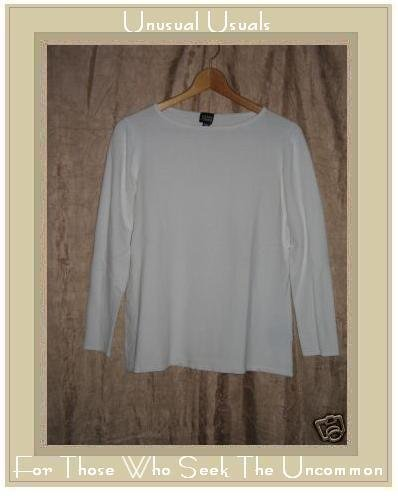EILEEN FISHER White Knit Pullover shirt top Medium M
