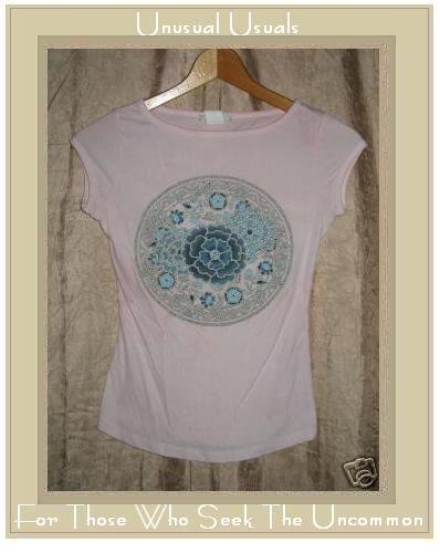 Sirens Soft Pink Beaded Floral Knit Pullover Shirt Top Small S