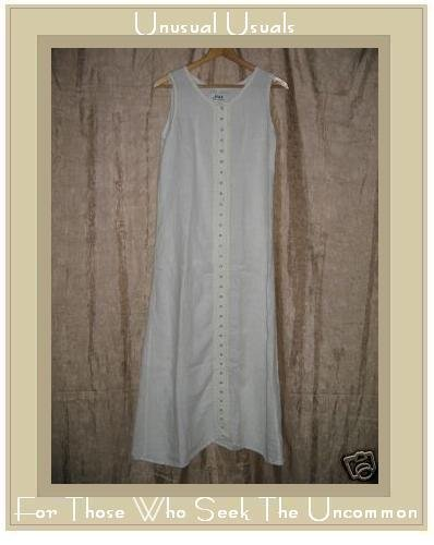 FLAX by Jeanne Engelhart White LINEN Snappy Dress Petite P