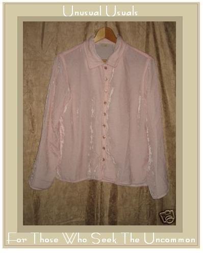 J. Jill Soft Pink Rayon Velvet Button Shirt Top Small S