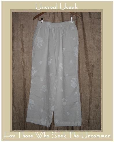 WHITEWASH White Tone on Tone Floral Linen Pants Large L
