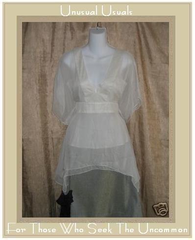 WHITEWASH Long White Layered Silk Cupid Top Large L