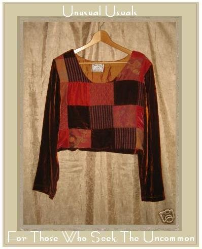 JACKIE LOVES JOHN Boutique Silky Velvet Patchwork Cropped Top Shirt Small S