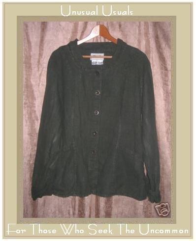 FLAX Shapely Green Linen Button Jacket Jeanne Engelhart Medium M