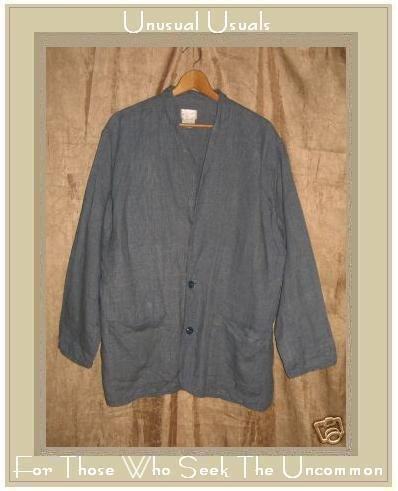 FLAX by Angelheart Jeanne Engelhart Blue Linen Blazer Jacket Small S