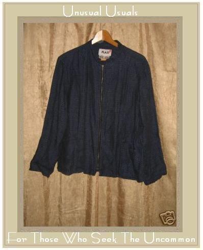 FLAX by Jeanne Engelhart Boxy Blue Linen Zipper Jacket SMALL