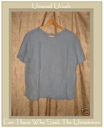 FLAX Jeanne Engelhart Blue Bark Clothe Linen Pullover Shirt Tunic Top Small S