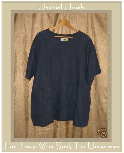 FLAX Jeanne Engelhart Blue Linen Pullover Shirt Tunic Top 2 Generous 2G