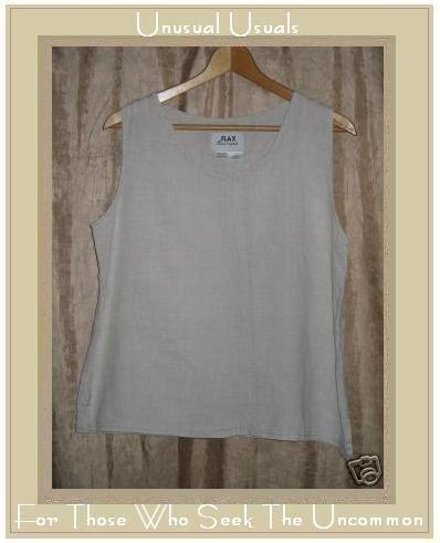 FLAX Jeanne Engelhart Linen Pin Tuck Tank Top Shirt Medium M