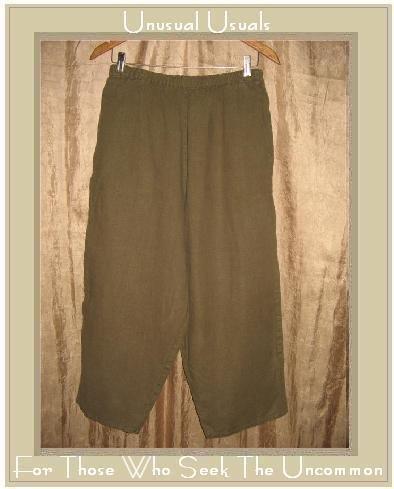 FLAX by Jeanne Engelhart Olive Green LINEN Capri Pants Large L
