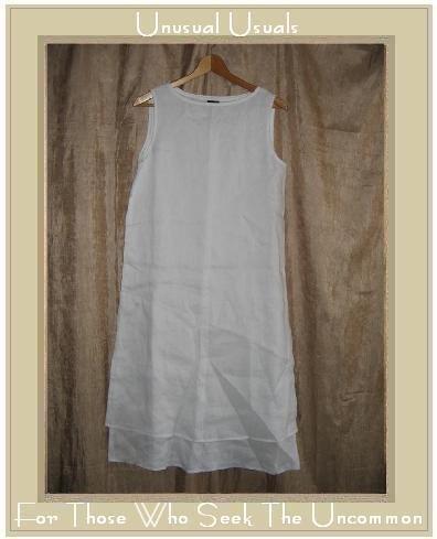 Eileen Fisher Long White Layered Irish Linen Dress Small S