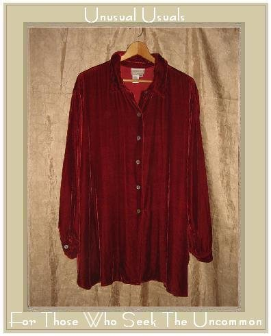 Coldwater Creek Softest Red Silk Rayon Velvet Button Shirt Tunic Top 2X