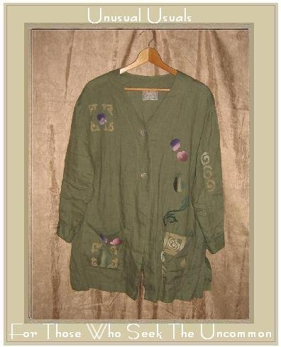 PLAY ALEGRE Green Painted LINEN Button Jacket Tunic Top Medium Large M L