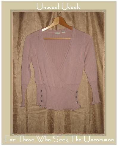 ODILLE Soft Lilac Cotton Wrapped Knit Cardigan Top Shirt Small S