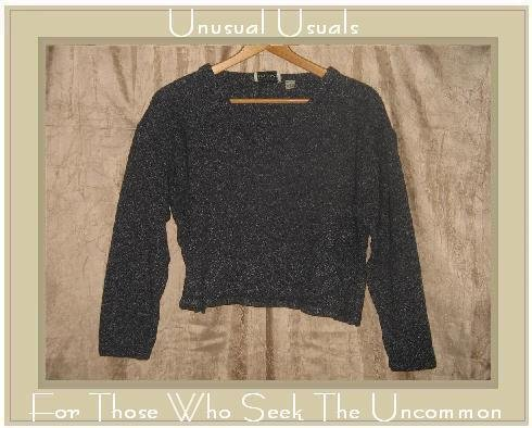 PUTUMAYO Speckled Black Knit Pullover Sweater Shirt Top SMALL S