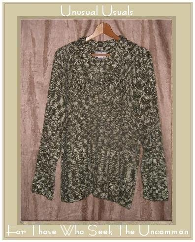 JOAN BASS Soft Mottled Green Knit Pullover Sweater Top Large L