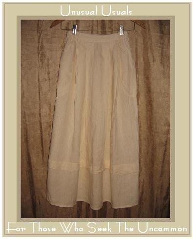 FLAX Long & Full Textured Cream  LINEN Skirt by Jeanne Engelhart Petite P