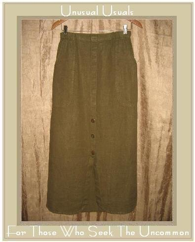 FLAX by Jeanne Engelhart Olive LINEN Button Bottom Skirt Small S