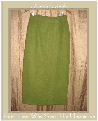 Tracy Evans Long Apple Green Wool Wrap Skirt Boutique Size 5 Small S
