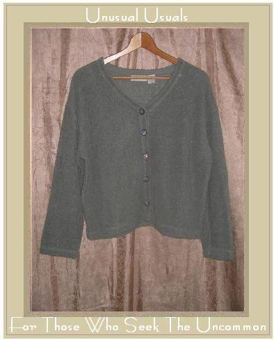 J. Jill Gray Green Terry Knit Tunic Top Jacket Medium M