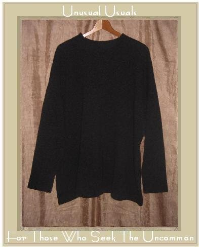 LILITH of France Charcoal Gray Wool Knit Tunic Sweater Top OS