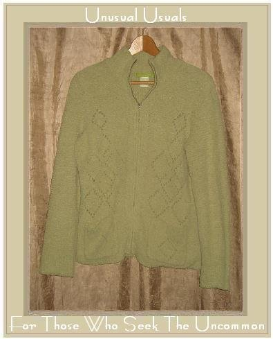 SIGRID OLSEN Soft Green Zip Cardigan Sweater Small S