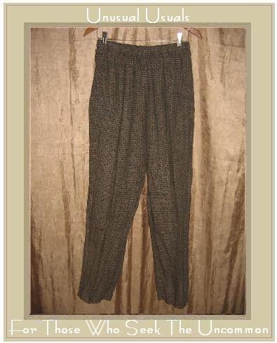 FLAX by Jeanne Engelhart Brown Basket Weave LINEN Pants Medium M