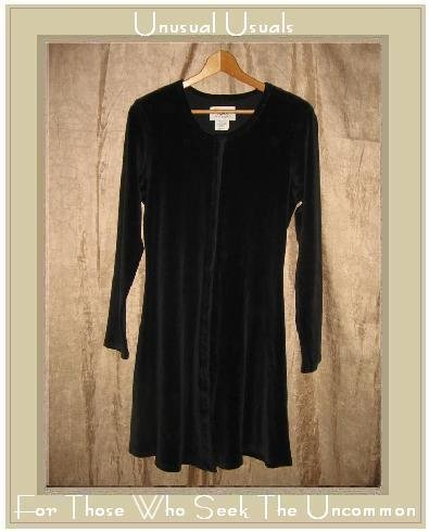Jeanne Engelhart Flax Black Cotton Velour Tunic Dress Small S