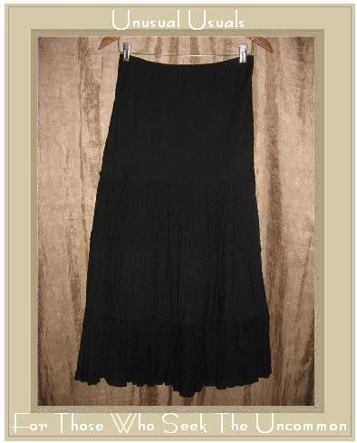 OZONE Long & Full Black Textured Cotton Tiered Skirt Small S
