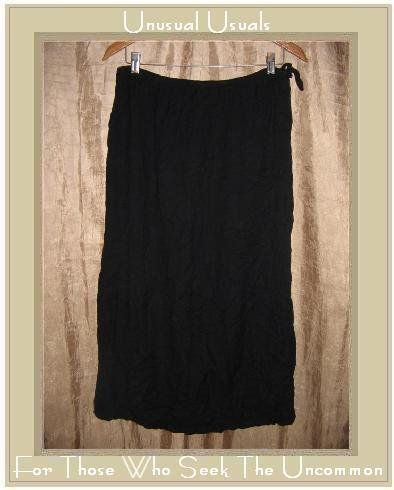APRIL CORNELL Long Soft Black Drawstring Skirt Medium M