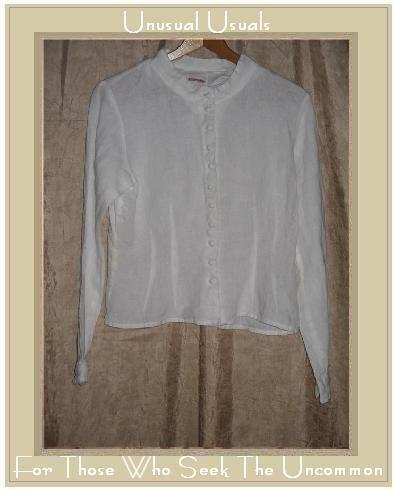 SOLITAIRE White Shapely Linen Button Shirt Top Medium M