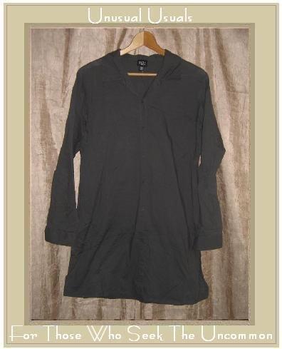 EILEEN FISHER Long Gray Cotton Tunic Top Shirt Medium M
