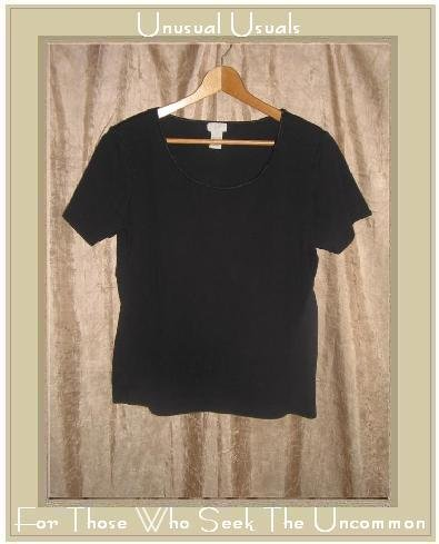 J. Jill Black Cotton Satin Trim Tee Shirt Top Medium M