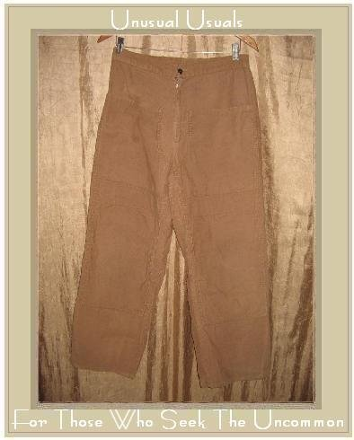 FLAX Tan Cotton Cargo Pants Jeanne Engelhart Small S