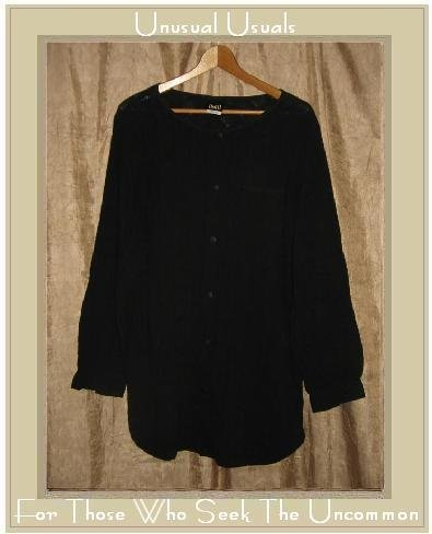 DOTTI Black Textured Cotton Weave Button Shirt Tunic Top Large L
