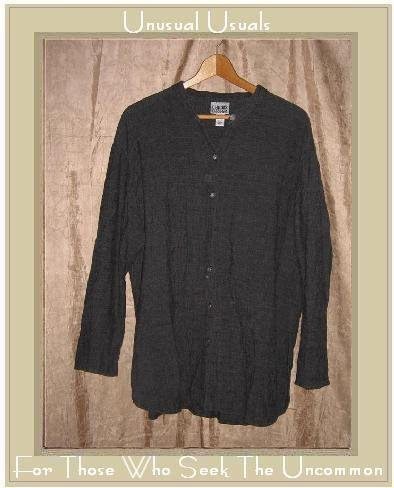 Chico's Design Gray Rayon Linen Shirt Tunic Top Size 2