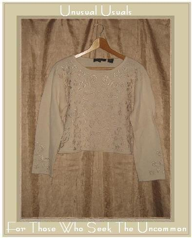 CL Carole Little Cream Embroidered Floral Sweater Medium M