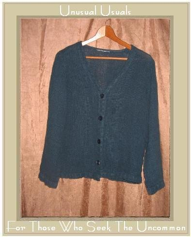 HOT COTTON Jewel Blue LINEN Boxy Button Jacket Top Small S