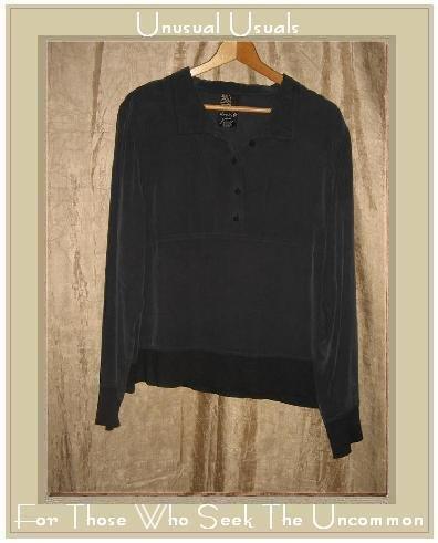 DANA B. and KAREN Black Silk Boxy Pullover Top Shirt Size 14