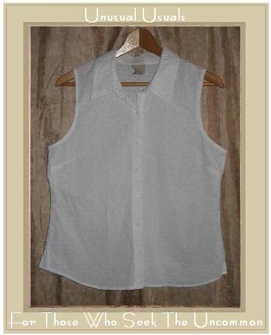 SIGRID OLSEN Embroidered White Sleeveless Button Shirt Top Large L